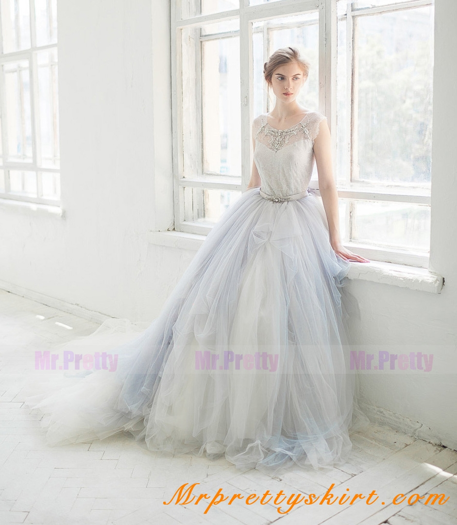 Grey long train tulle skirt bridal skirts grey tulle long train wedding skirt bridal skirt junglespirit Images
