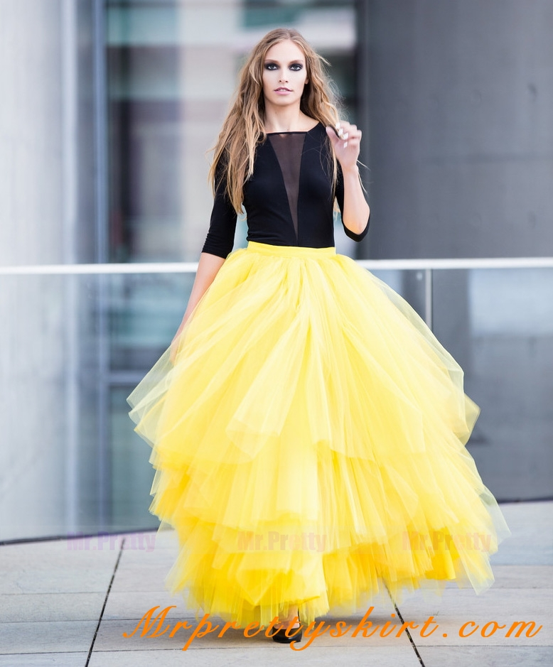 brilliant yellow tulle skirt outfit 11