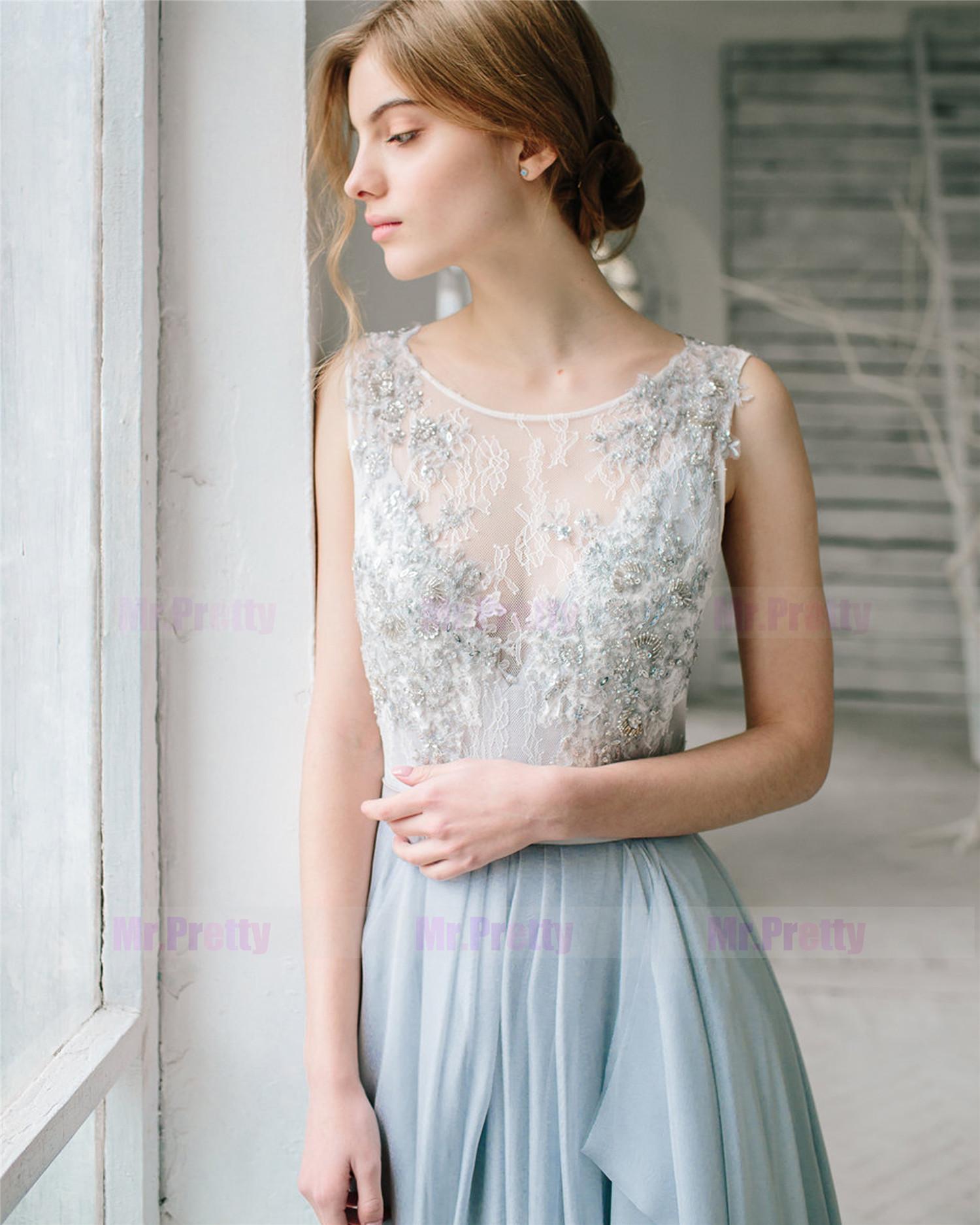 bf0b8aaf6b6729 Light Grey Lace Beads Bridal Top 2 Pieces Wedding Top