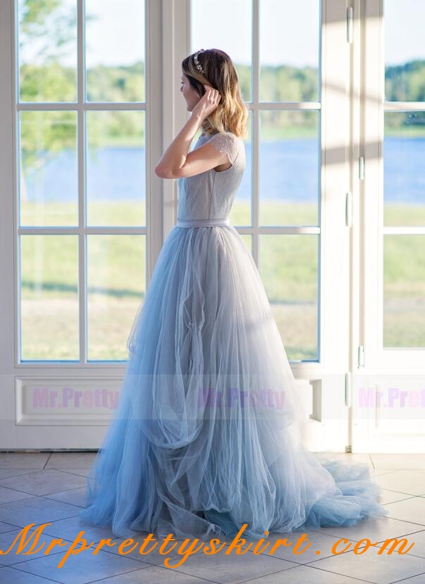 be97a5a08e blue grey tulle lace long tulle bridal skirt 2 pieces wedding skirt